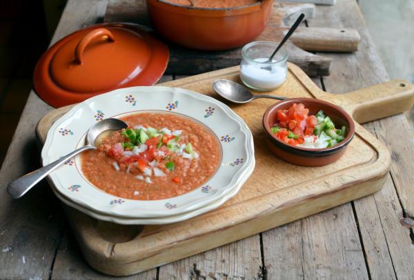 "Hot Spanish Soup that's Chilled! Flamenco ""100 Calorie"" Gazpacho Soup Recipe"