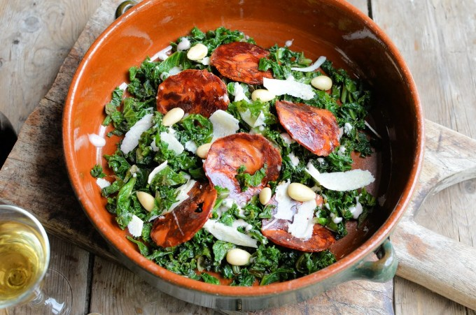 Warm Curly Kale Salad with Almonds, Chorizo and Sherry Dressing