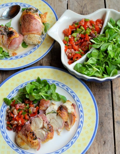 Bacon Wrapped Chicken with Goat's Cheese and Basil served with Mixed Pepper Tomato Salsa