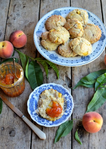 Peaches and Cream Summertime Scones