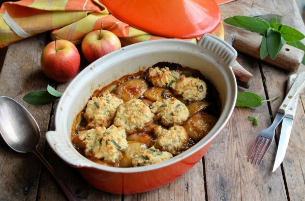 Sausage & Apple Casserole with Herb Dumplings