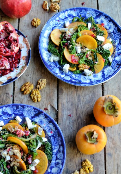 A Countdown to Christmas Recipe: Frazzled Kale and Frisee salad with Pomegranate, Persimmon and Walnuts