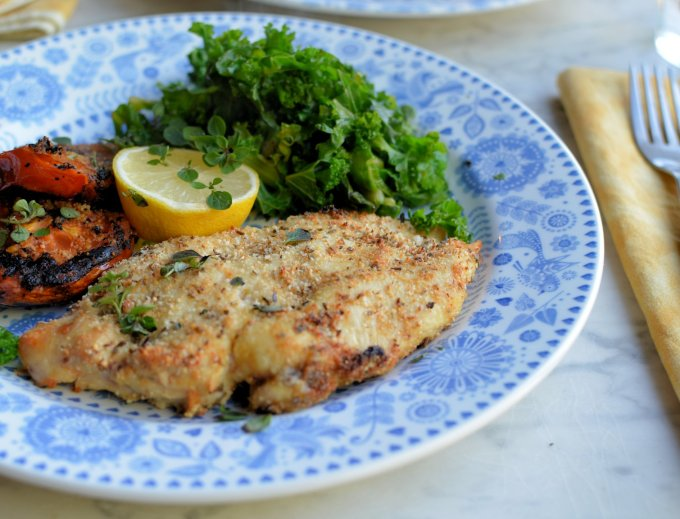 Garlic, Herb and Parmesan Crusted Chicken Schnitzels