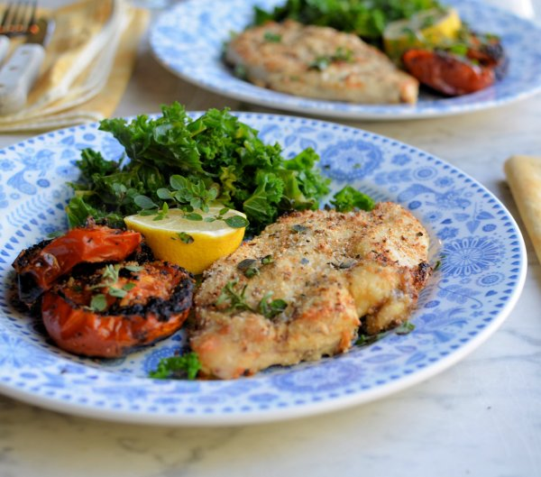 Tasty Low-Calorie 5:2 Diet Recipe: Garlic, Herb and Parmesan Crusted Chicken Schnitzels