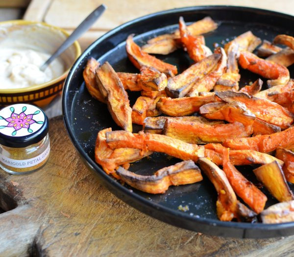 Exotic Chips/Fries! Chilli Roasted Sweet Potato Chips with a Marigold Petal Masala Dust