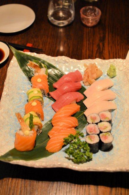 Chutoro Nigiri, Salmon Nigiri, Butterfish Nigiri, Special Ebiten Roll and Negitoro Roll