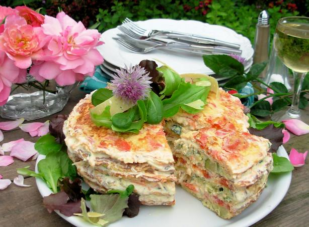 An Elegant Omelette Gateau with Chive Flowers