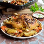 DUKKAH CRUSTED ROAST CHICKEN AND VEGETABLES WITH A FRESH MINT DRESSING