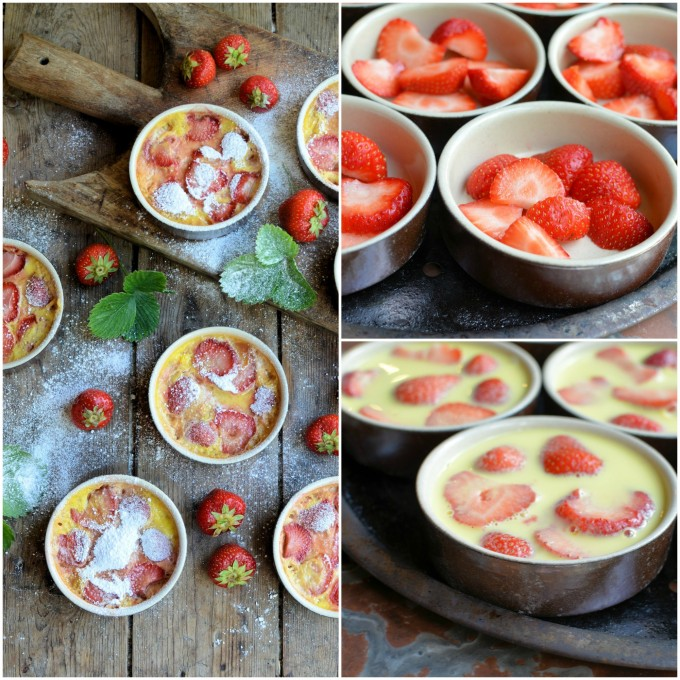 Ready to bake strawberry clafoutis