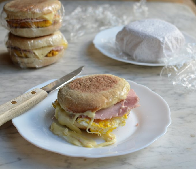 Secret Recipe Club: Freezer Breakfast Sandwiches with Ham, Eggs and Cheese