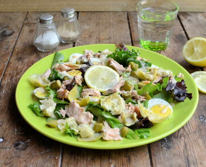 Egg, Artichoke and Salmon Salad (5:2 Diet)