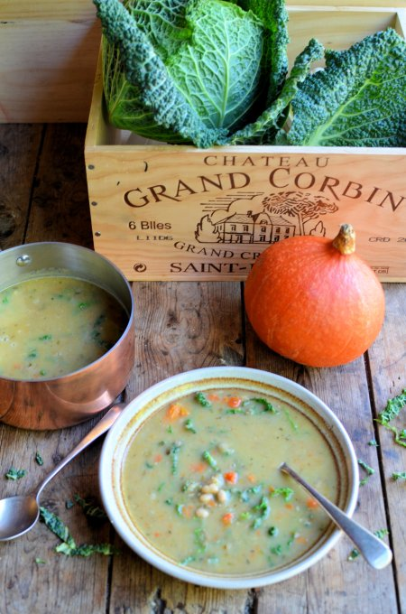 "Meat Free ""Garbure"" Soup with Cabbage and Pumpkin"
