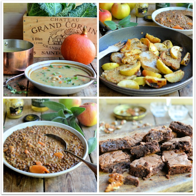 Thrifty & Organic October: Pork & Apples with French Style Lentils and Salted Chocolate Brownies
