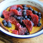 Amish Recipe: Dutch Baby Oven Pancake with Blood Oranges and Blueberries