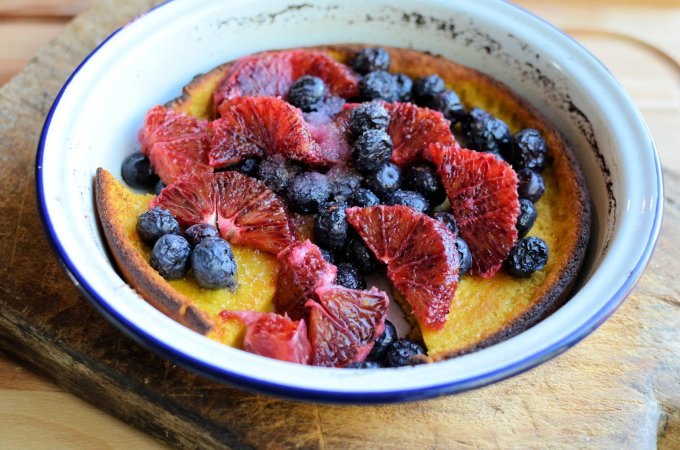 Dutch Baby with Blood Oranges and Blueberries