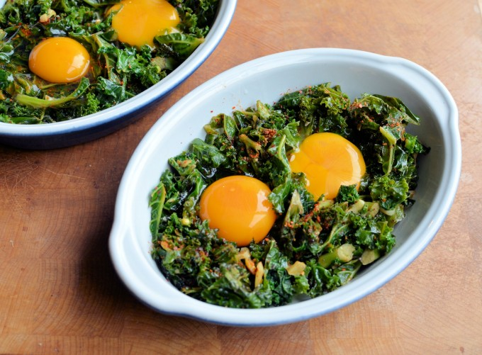 A Spring Breakfast Recipe: Shirred Eggs over Kale and Garlic with Espelette