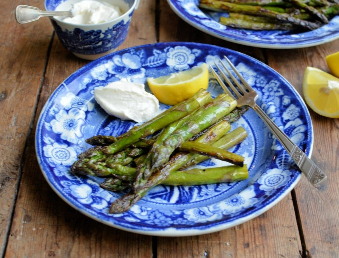 Butter Griddled Asparagus with Lemon and Aioli