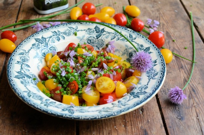 Heirloom Tomato Salad with Chive Flowers