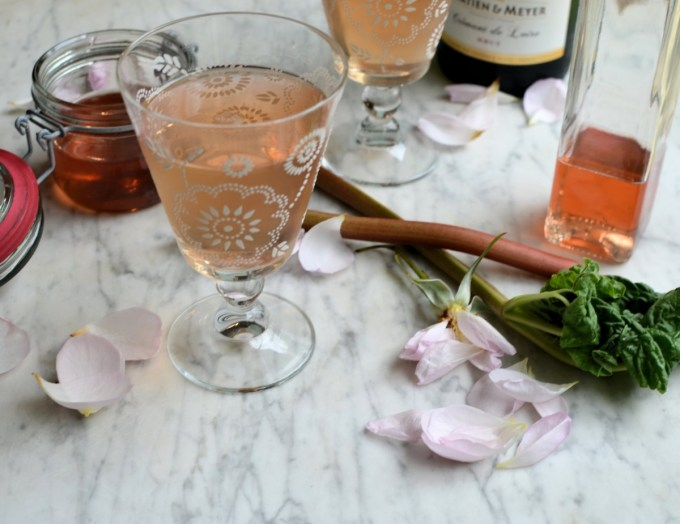 Rhubarb and Rose Champagne Cocktails