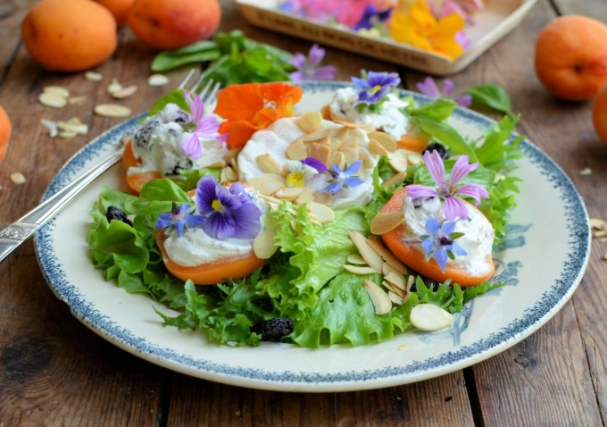 Provençal Stuffed Apricot & Goat's Cheese Salad with Edible Flowers,