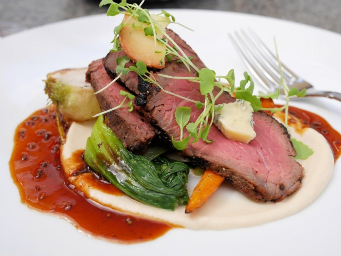 Top Beef Sirloin with Cauliflower Puree, Blue Haze Cheese and Mustard Jus