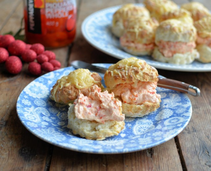 Mini Cheese Scones with Creamy Peppadew Spread