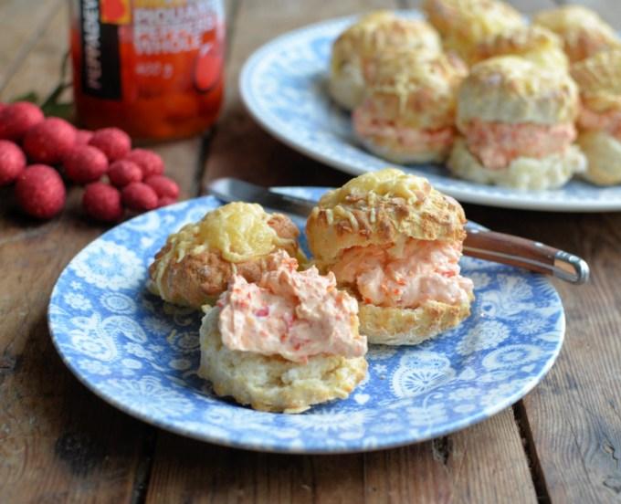 Mini Cheese Scones with Creamy Peppadew Spread