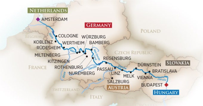 "Follow the route of emperors and kings on a ""Magnificent"" European journey along three great rivers through five fascinating countries! Begin in Amsterdam, then travel on the Rhine to Cologne, a historic university town with a breathtaking Cathedral. Cruise through the beautiful Rhine Gorge and then onto the Main River. Marvel at the Main-Danube Canal – an engineering masterpiece – as you traverse Europe's Continental Divide from the comfort of your ship. Discover the culture and traditions of such grand old capitals as Vienna, Bratislava and Budapest. Along the way, you'll see perfectly preserved medieval towns and Europe's loveliest countryside, filled with ancient abbeys and fairytale castles."