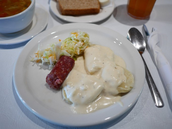 Traditional Meal - $15.50 Locally made Foarma Worscht with three Vereniki smothered in Schmauntfatt with a side serving of coleslaw. Served with a bowl of Komst Borscht, a slice of stone ground whole wheat bread and plautz.