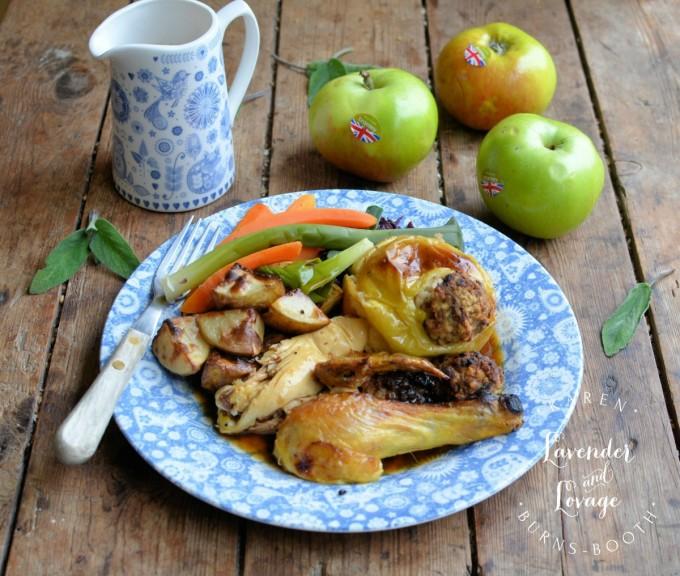 Savoury Sausage and Sage Roast Apples with Roast Chicken