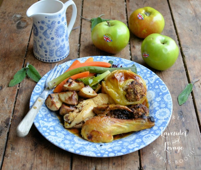 Savoury Sausage and Sage Roast Apples with Roast Chicken