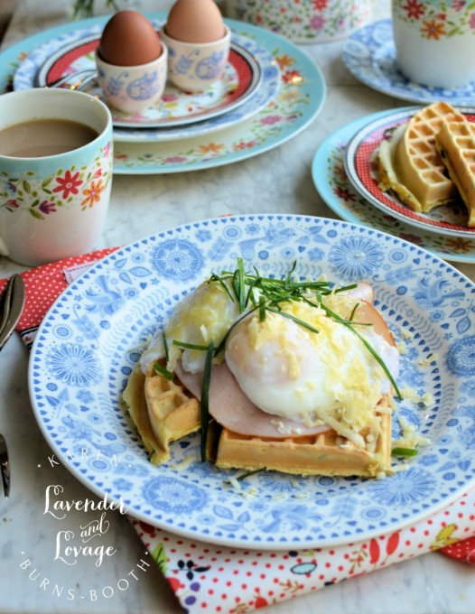 Buttermilk and Chive Waffles with Smoked Turkey and Cheesy Poached Eggs