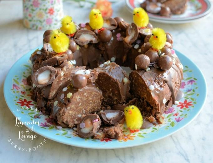 No Bake Creme Egg & Malteser Chocolate Tiffin Bundt Cake