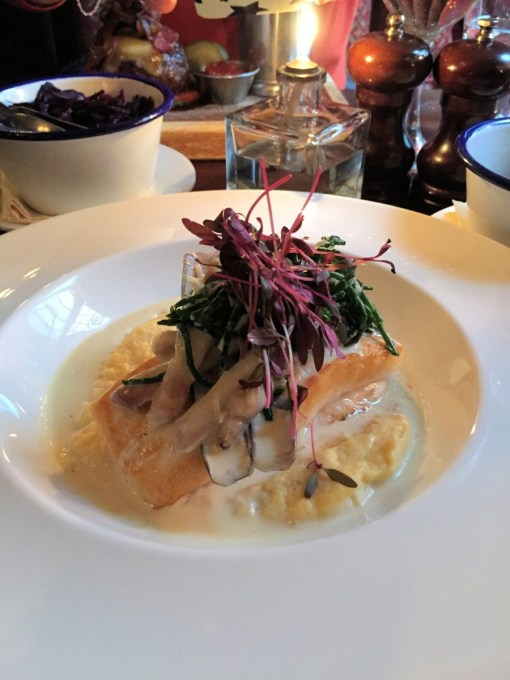 Pan-fried Halibut with swede purée, razor clams and samphire (£20)