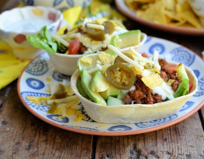 Mexican Beef Layered Salad Taco Bowls