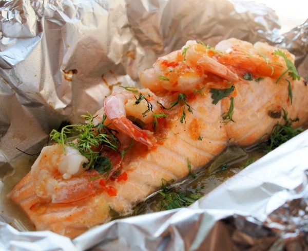 CHILLI, GARLIC & LIME BARBECUED SALMON PARCELS WITH PRAWNS