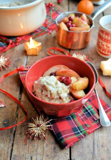 Festive overnight cooked oatmeal with spiced poached fruits