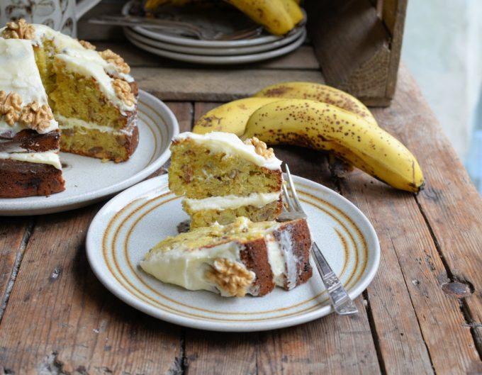 Banana Bread Cake served