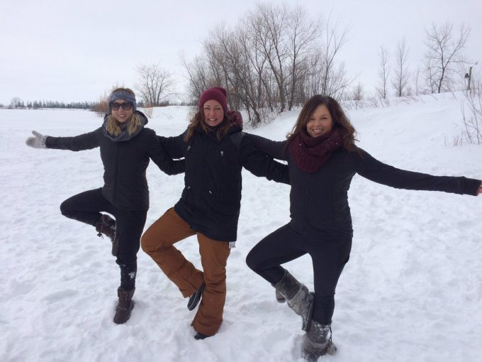 Fire and Ice Yoga on a Frozen Lake: Image FortWhyte Alive