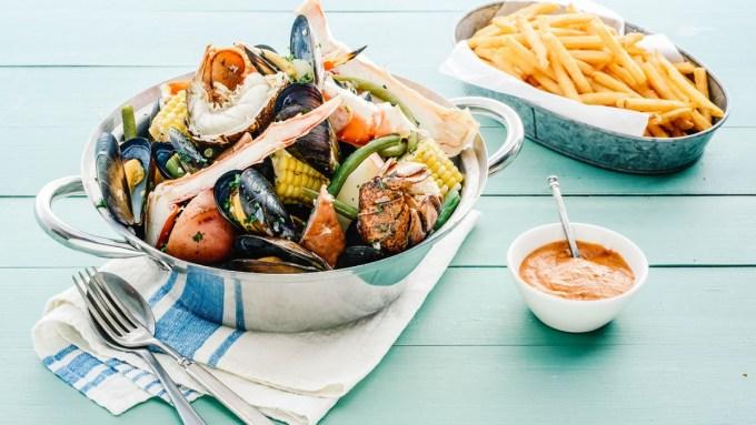 BLACK & BLUE MUSSELS STEAMER scallops and kielbasa sausage
