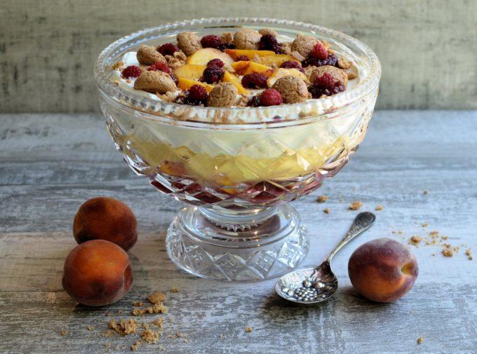 Peach Melba Sherry Trifle