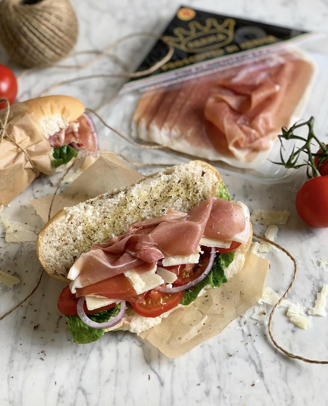Italian Sub Sandwich With Prosciutto Di Parma Ham Lavender And Lovage