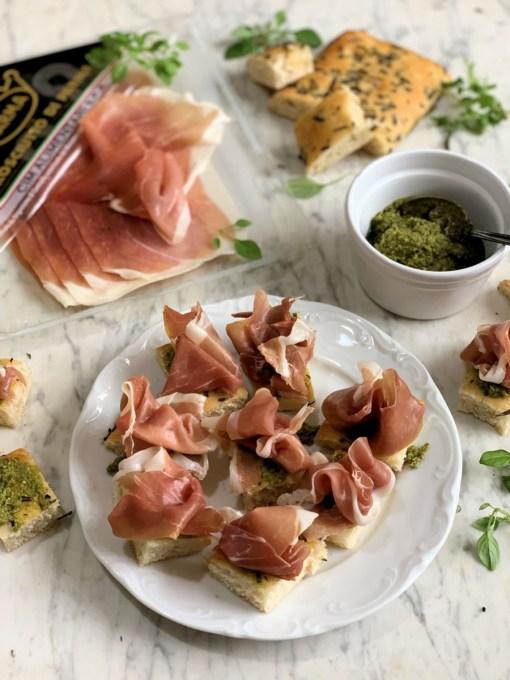 Parma Ham and Pesto Bites