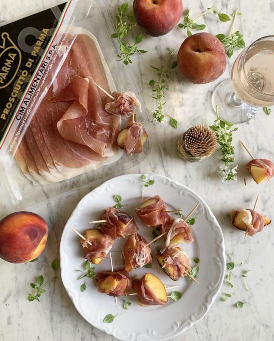 Prosciutto di Parma and Peach Mini Skewers