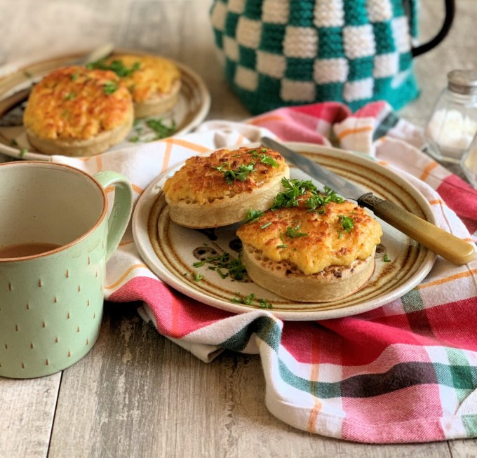 Welsh Rarebit on Toasted Crumpets