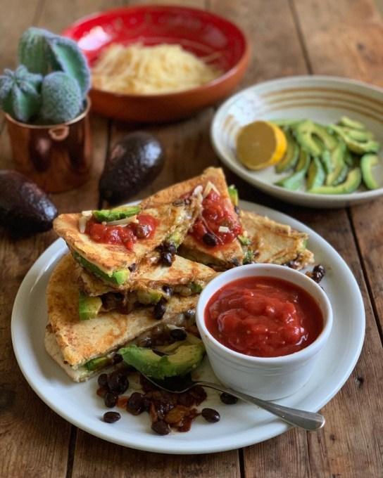 Spicy Black Bean & Avocado Quesadillas