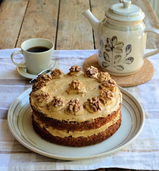 Today's recipe for Coffee Walnut Cake, is based on my mum's recipe (which is her mother's recipe, my grandma) that she used to make for Sunday tea, but I've increased the quantities to make a large cake that will serve twelve people with ease (12 slices). Don't forget to use the best quality instant coffee you can lay your hands on, as that makes a difference to the taste.