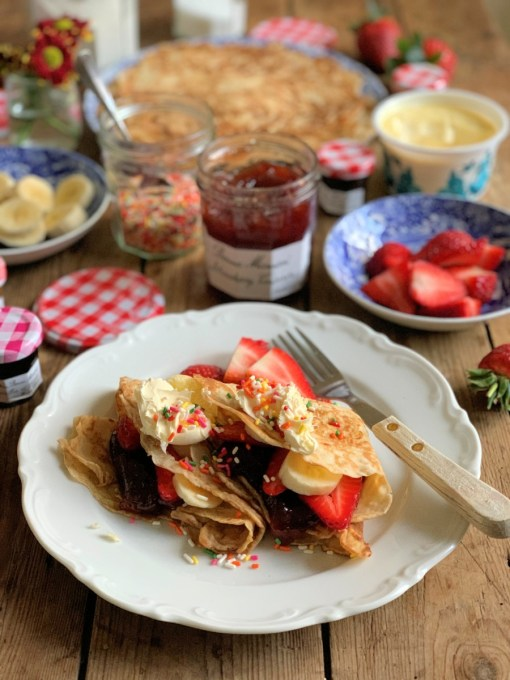 Strawberries and Cream Pancake Party Platter