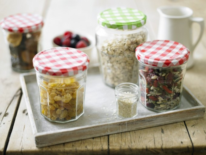 Use the larger compote jars to store the oats, bran and flakes – toasted or otherwise. Keep mixed nuts, seeds, dried fruit and a medley of different toppings in the standard size jars and allow everyone to pick and choose their own perfect recipe.
