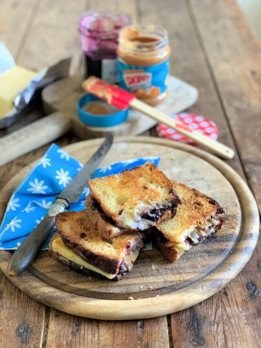 My recipe for Peanut Butter & Jelly Grilled Cheese Sandwich is a fabulous combination of flavours! Made with homemade sourdough bread, cheese slices, blueberry jam and SKIPPY® Super Crunch Peanut Butter